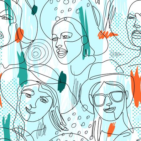 Modèle sans couture avec femme fait face à un portrait d'art en ligne. Expression faciale féminine. Femme linéaire dessinée à la main en fond de silhouette de chapeau. Illustration vectorielle