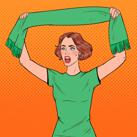 Pop Art Woman Soccer Fan with Scarf of her Favorite Team. Football Supporter. Vector illustration Stock Illustratie