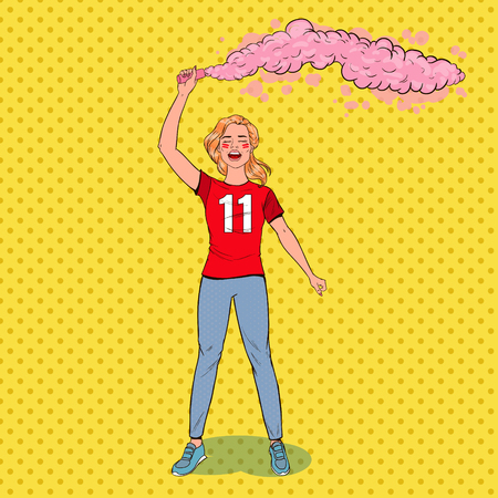 Pop Art Woman Soccer Fan Celebrating the Victory of Favorite Team. Football Hooligans. Vector illustration Ilustracja