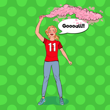 Pop Art Woman Soccer Fan Celebrating the Victory of Favorite Team. Football Hooligans. Vector illustration 向量圖像