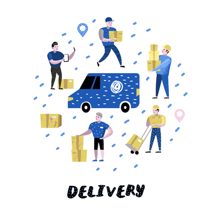 Delivery Service, Cargo Industry. Courier Characters Set in Different Poses. Postal Workers in Uniform with Parcels. Vector illustration