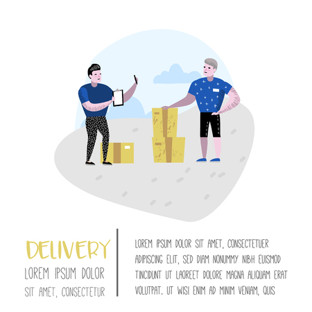 Delivery Service, Cargo Industry Poster, Banner. Courier Character. Postal Worker in Uniform with Parcels. Vector illustration Stock Illustratie