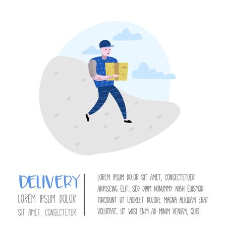 Delivery Service, Cargo Industry Poster, Banner. Courier Character. Postal Worker in Uniform with Parcels. Vector illustration Ilustração