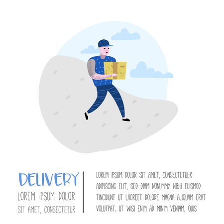 Delivery Service, Cargo Industry Poster, Banner. Courier Character. Postal Worker in Uniform with Parcels. Vector illustration Illustration