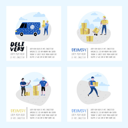 Delivery Service, Cargo Industry Poster, Banner. Courier Characters. Postal Workers in Uniform with Parcels. Vector illustration