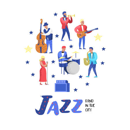Jazz Music Characters Set. Musical Instruments, Musicians and Singer Artists. Contrabassist, drummer, saxophonist, guitarist. Vector illustration Stock Illustratie