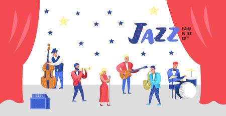 Jazz Concert Poster, Banner. Music Characters, Musical Instruments, Musicians and Singer Artists. Contrabassist, drummer, saxophonist, guitarist. Vector illustration Illustration