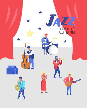 Jazz Concert Poster, Banner. Music Characters, Musical Instruments, Musicians and Singer Artists. Contrabassist, drummer, saxophonist, guitarist. Vector illustration Stock Illustratie