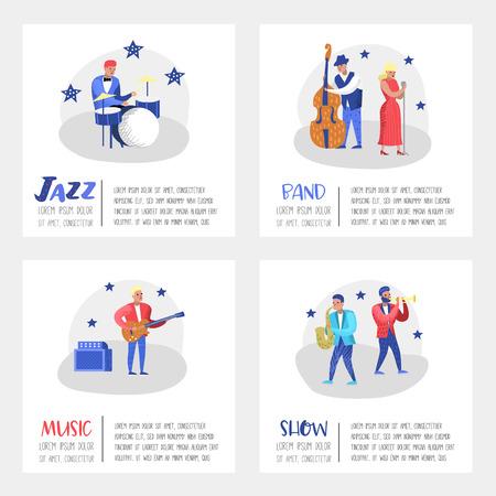 Jazz Concert Poster, Banner. Music Characters, Musical Instruments, Musicians and Singer Artists. Contrabassist, drummer, saxophonist, guitarist. Vector illustration Stock Illustratie