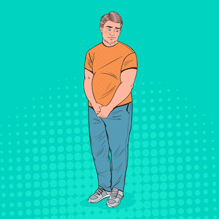 Pop Art Shy Fat Man. Overweight Ashamed Young Guy. Unhealthy Eating. Vector illustration 向量圖像