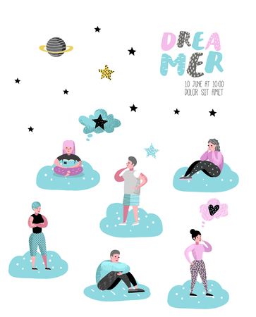 Happy People Dreaming about Something Poster, Banner, Brochure. Young Man Thinking. Woman Dream about Future. Joyful Cartoon Characters. Vector illustration