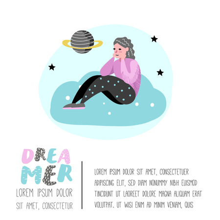 Happy People Dreaming about Something Poster, Banner, Brochure. Woman Dream about Future. Joyful Cartoon Characters. Vector illustration Illustration