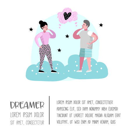 Happy People Dreaming about Something Poster, Banner, Brochure. Woman and Man Dream about Future. Joyful Cartoon Characters. Vector illustration