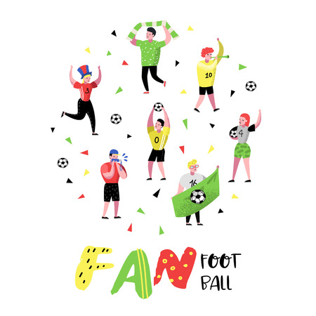 Football Fans Celebrating Victory. Funny Characters Sport Supporters. Group of People Supporting on Match with Flag and Scarf. Vector illustration