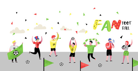 Football Fans Celebrating Victory Poster, Banner. Funny Characters Sport Supporters. Group of People Supporting on Match with Flag and Scarf. Vector illustration 向量圖像