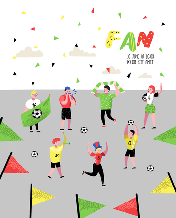 Football Fans Celebrating Victory Poster, Banner. Funny Characters Sport Supporters. Group of People Supporting on Match with Flag and Scarf. Vector illustration Illusztráció