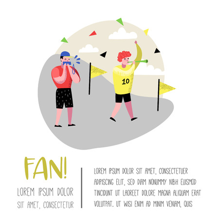 Football Fans Celebrating Victory Poster, Banner. Funny Characters Sport Supporters. Group of People Supporting on Match with Flag and Scarf. Vector illustration Illustration