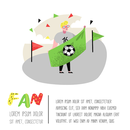 Football Fan Celebrating Victory Poster, Banner. Funny Character Sport Supporter. People Supporting on Match with Flag. Vector illustration Illusztráció