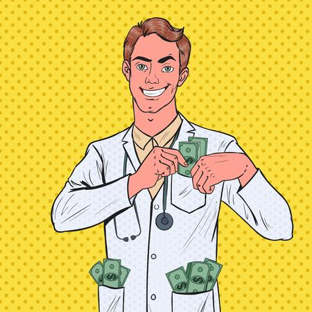 Doctor corrupto masculino del arte pop puso dinero en el bolsillo. Concepto de corrupción. Ilustración vectorial
