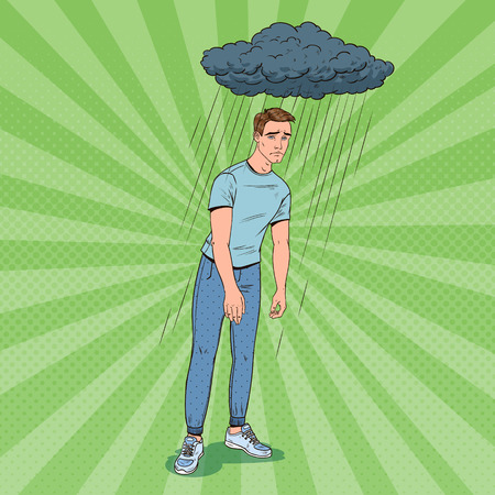 Pop Art Depressed Young Man Under the Rain. Confused Disappointed Guy. Facial Expression. Negative Emotion. Vector illustration