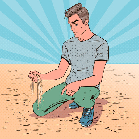 Pop Art Sad Young Man Sitting on the Beach. Broken Heart Guy. Facial Expression. Negative Emotion. Vector illustration Illustration