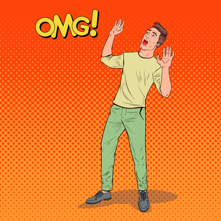 Pop Art Frightened Man. Scared Facial Expression. Shocked Guy Holding Hands Upwards. Negative Emotion. Vector illustration