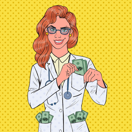 Pop Art Female Corrupt Doctor Put Money into Pocket. Corruption Concept. Vector illustration Illustration