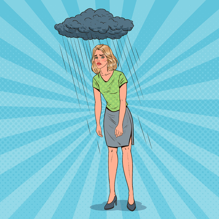 Pop Art Depressed Young Woman Under the Rain. Confused Disappointed Girl. Facial Expression. Negative Emotion. Vector illustration