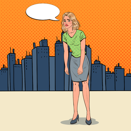 Pop Art Depressed Young Woman in the City. Confused Disappointed Girl. Facial Expression. Negative Emotion. Vector illustration