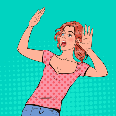 Pop Art Frightened Woman. Scared Facial Expression. Shocked Beautiful Girl Holding Hands Upwards. Negative Emotion. Vector illustration