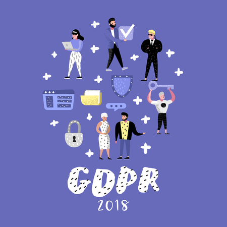 General Data Protection Regulation Concept with Characters. GDPR Principles for the Processing of Personal Data. Vector illustration
