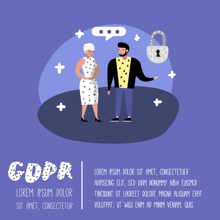 General Data Protection Regulation Concept with Characters for Poster, Banner. GDPR Principles for the Processing of Personal Data. Vector illustration