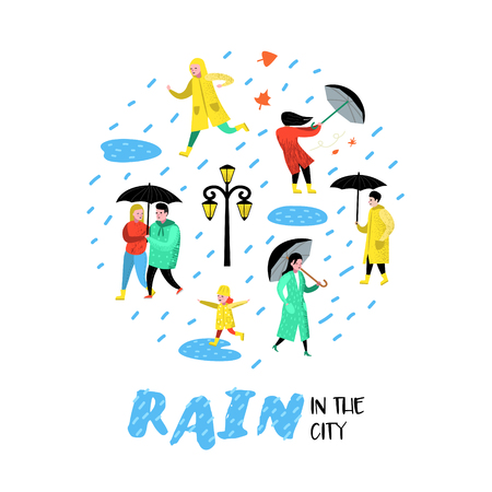 Characters People Walking in the Rain. Cartoons in Raincoats with Umbrella. Autumn Rainy Weather, Fall Season. Vector illustration
