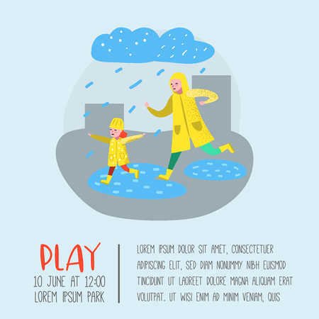 Characters People Walking in the Rain Poster, Banner. Cartoon Mother with Daughter in Raincoats. Autumn Rainy Weather, Fall Season. Vector illustration