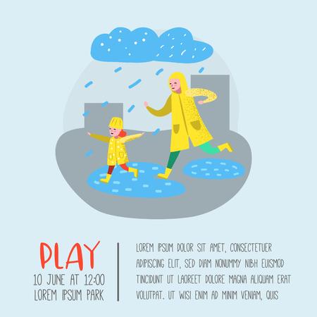 Personajes personas caminando bajo la lluvia cartel, pancarta. Madre de dibujos animados con hija en impermeables. Otoño lluvioso, temporada de otoño. Ilustración vectorial Ilustración de vector