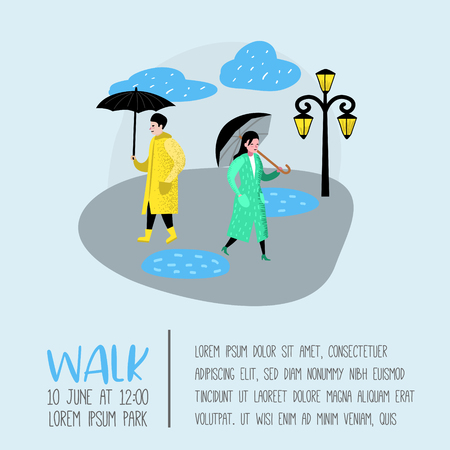 Characters People Walking in the Rain Poster, Banner. Cartoons with Umbrella. Autumn Rainy Weather, Fall Season. Vector illustration Stock Illustratie