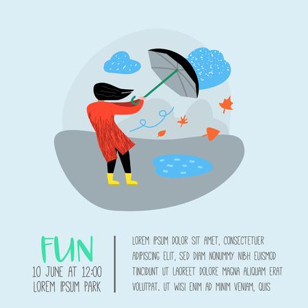 Character People Walking in the Rain Poster, Banner. Cartoon Woman with Umbrella. Autumn Rainy Weather, Fall Season. Vector illustration