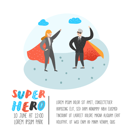Superhero Business People Characters Poster, Banner. Business Leadership, Success, Motivation Concept. Man and Woman Wearing a Red Cloak. Vector illustration