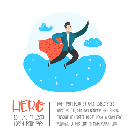 Superhero Business People Character Poster, Banner. Business Leadership, Success, Motivation Concept. Man Wearing a Red Cloak. Vector illustration