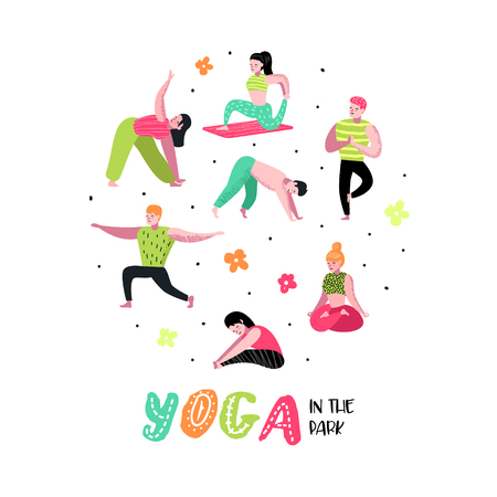 Cartoon People Practicing Yoga. Man and Woman Stretching, Training. Fitness Workout, Healthy Lifestyle. Vector illustration