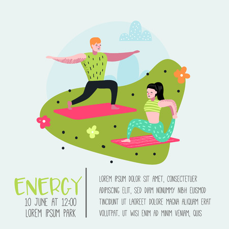 Cartoon People Practicing Yoga Poster, Banner. Man and Woman Stretching, Training. Fitness Workout, Healthy Lifestyle. Vector illustration Illustration
