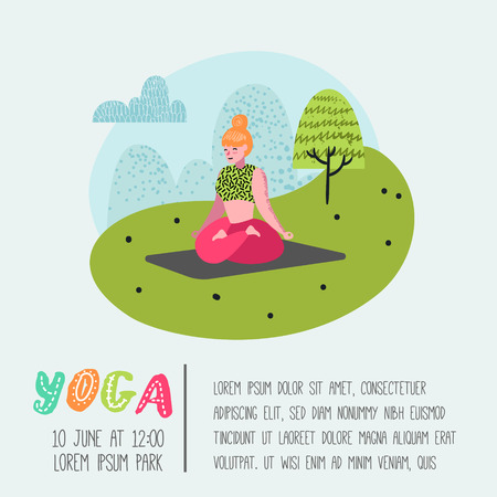 Cartoon People Practicing Yoga Poster, Banner. Woman Stretching, Training. Fitness Workout, Healthy Lifestyle. Vector illustration