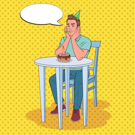 Pop Art Unhappy Man Celebrating Birthday Alone. Sad Guy with Birthday Cake. Vector illustration Illustration