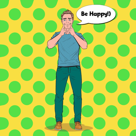 Pop Art Man Making Fake Smile with Her Fingers. Positive Facial Expression. Vector illustration
