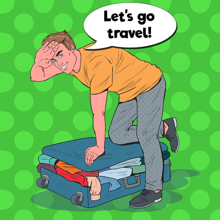 Pop Art Man Trying to Close Overflowed Suitcase. Guy Preparing for Summer Traveling. Travel Concept. Vector illustration