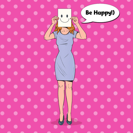 Pop Art Woman with Smiley Emoticon on Paper Sheet. Happy Girl Holding a Smiling Face Emoticon. Vector illustration