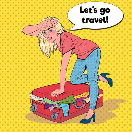 Pop Art Woman Trying to Close Overflowed Suitcase. Girl Preparing for Summer Traveling. Travel Concept. Vector illustration
