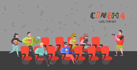 Cartoon People with Popcorn and Soda Watching Movie in the Cinema Seats Poster. Man and Woman Characters in 3d Glasses. Vector illustration