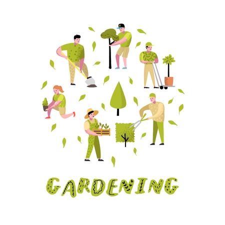 Gartenarbeit-Karikaturen eingestellt. Lustige einfache Charaktere mit Pflanzen und Bäumen. Mann und Frau Gärtner. Vektor-Illustration
