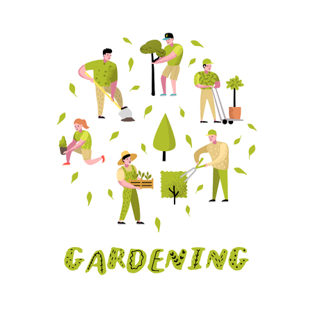 Tuinieren Cartoons Set. Grappige eenvoudige karakters met planten en bomen. Man en vrouw tuinman. vector illustratie